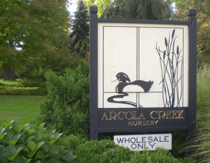 Arcola Creek Nursery sign